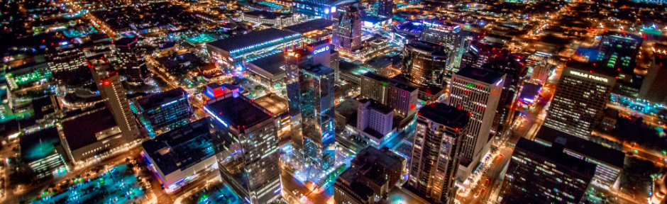 Aerial view of downtown Phoenix at night