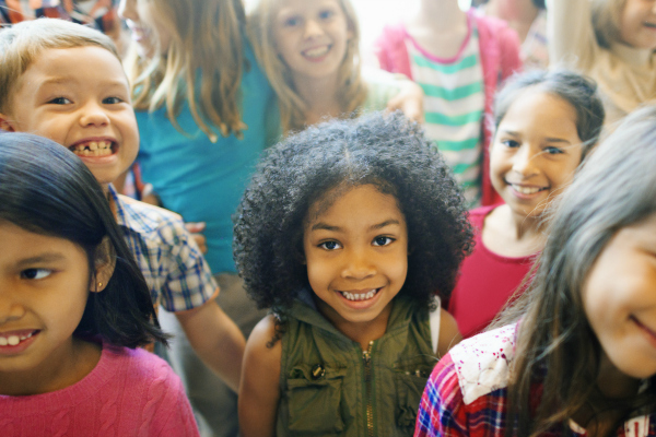 Group of smiling elementary school students