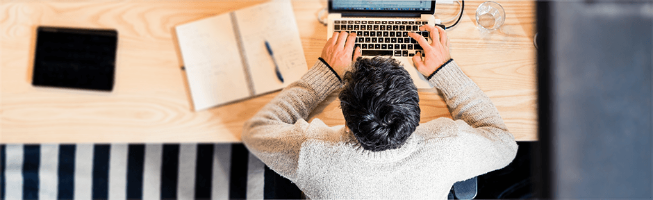 Man studying for a certification exam from home
