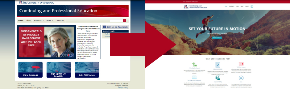 Screen shot of old website homepage and new website homepage side-by-side with an arrow pointing from one to the other.