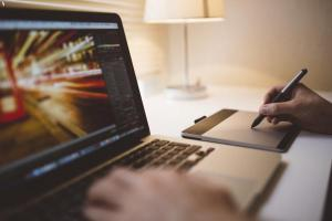 Designer working with Photoshop