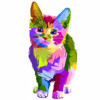 Colorful illustration of a kitten