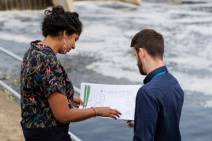 Engineers planning a dam project