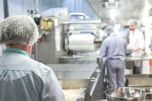 Food manufacturing workers in industrial kitchen