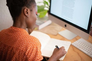 Woman working on a grant proposal