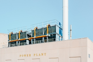 Front view of a power plant
