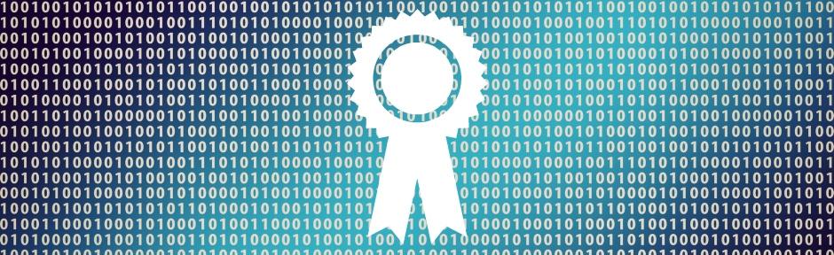 Binary code with certification ribbon superimposed on top