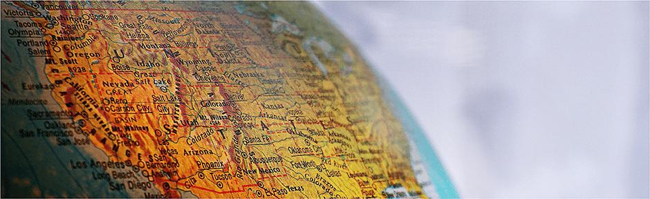 Vintage globe showing United States
