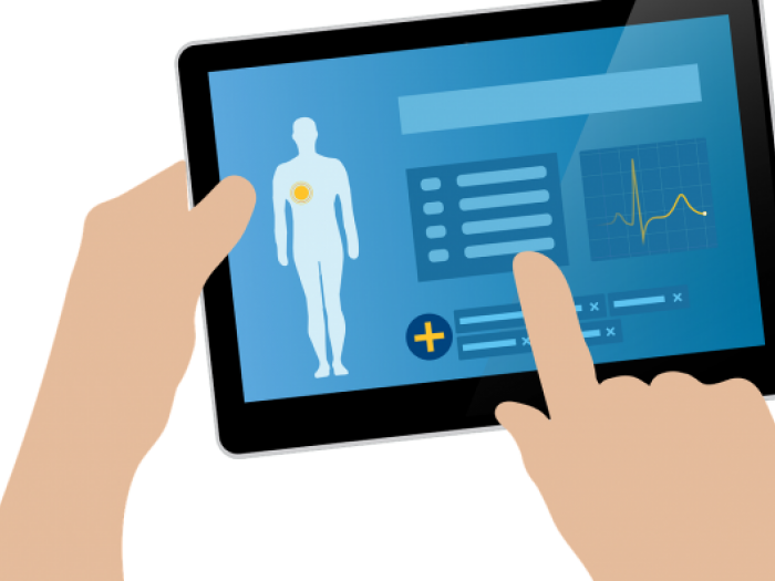 Drawing of a medical professional working on an electronic health record